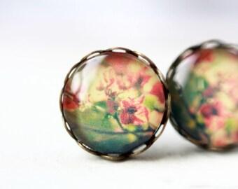 Earrings, 12 mm, flower, flower, flower stud earrings, flower earrings