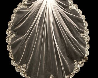 Beaded Gold Embroidery Wedding Veil In Elbow, Fingertip or  Cathedral Length - Free Sample Swatches