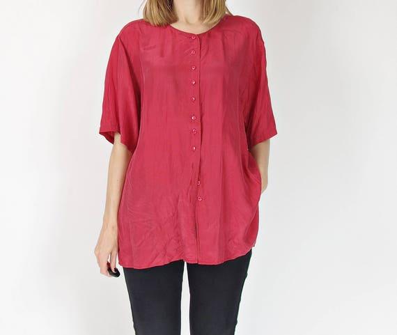90s Minimalsitic silk shirt / brick red street style women / size M-L-XL