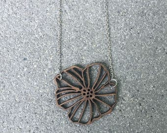 Laser Cut Wood Flower Necklace \\ Wood Jewelry \\ Silver Chain