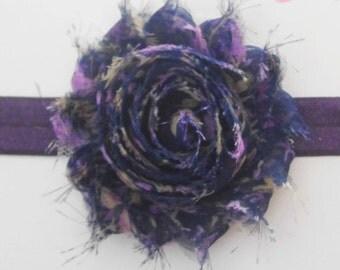 Deep Purple Floral Shabby Flower Headband