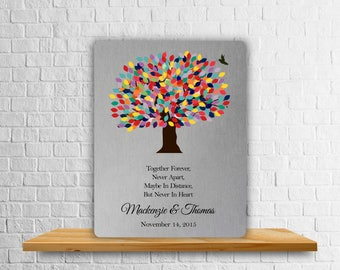 Personalized Metal Art Print - Aluminum Anniversary Gift - Custom Tin - 10 Years - Gift for Couple - Tree - Leaves - Bird - Anniversary Gift