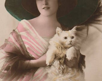 Two Postcards of Lovely Young Lady with White Cat. Glamour. Carlton Publishing