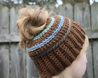 RTS Messy Bun Hat, Brown Green Blue Ponytail Beanie, Ready to Ship Multicolored Handmade Crochet Beanie, Blue Green Grey Knit Button Hat