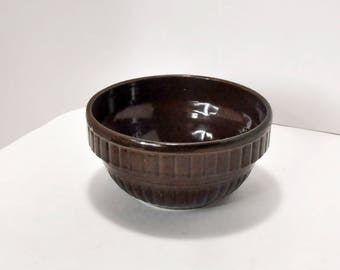 Vintage Brown Stoneware Pottery Mixing Serving Bowl USA 7 Inch