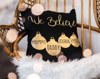 Personalised Christmas Cushion / Family Xmas / Gift / Present / New Baby / Just Married