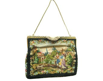 Benlux French Tapestry Purse with Marcasite Encrusted Frame Hand Made In France - Vintage Tapestry Purse