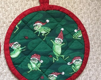 Quilted Potholders, frog motif, set of two