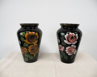 Vintage French Black Amethyst Glass Vase Set