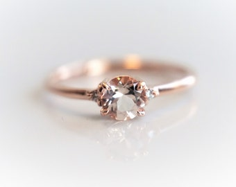 Sophie Single - Peach Pink Morganite and natural diamond Ring, 14k or 18k Gold Diamond Morganite Ring, Unique  Engagement Ring