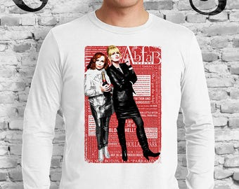 Absolutely Fabulous White T-Shirt Sweetie! Darling! Patsy and Edina. Ab Fab typography quotes. abfab. BBC. Campy. Art. Print. Gay. Drag.