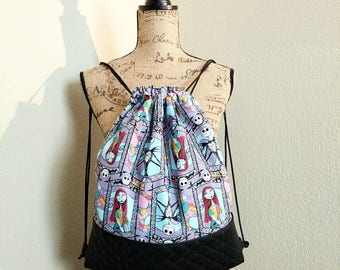 Sally & Jack Stained Glass Girls Drawstring Backpack / Nightmare Before Christmas