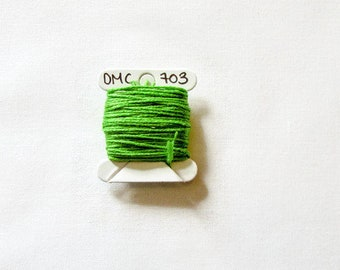 Bright leaf green embroidery thread,  DMC 703, stranded embroidery floss, cross stitch supplies, stranded cotton