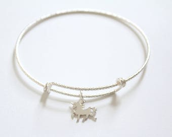 Sterling Silver Bracelet with Sterling Silver Unicorn Charm, Unicorn Bracelet, Unicorn Charm Bracelet, Unicorn Pendant Bracelet, Unicorn