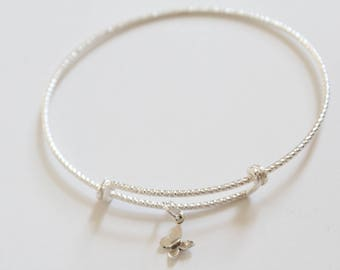 Sterling Silver Bracelet with Sterling Silver Butterfly Charm, Tiny Butterfly Charm Bracelet, Tiny Butterfly Bracelet, Silver Butterfly