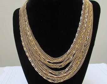 Vintage massive  15 strand chain bib statement necklace 60's