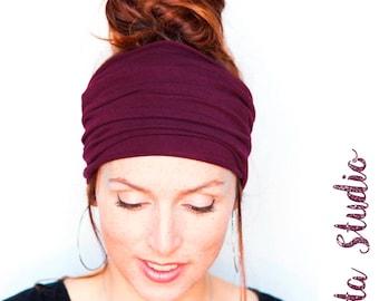 Burgundy Headband - Wine Headwrap Burgundy Hairwrap Yoga Headband Wide Headband Boho Headband Bohemian Headband Turban Tichel Mitpachat