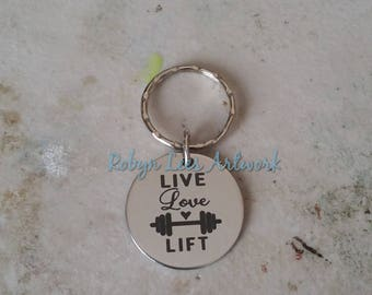 Live Love Lift Engraved Stainless Steel Disc Keyring with Barbell Weights on Silver Split Ring or Bag Clip