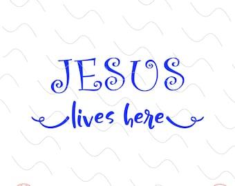 Christian Wall Art, Jesus lives here,  Vinyl Wall Art, Christian, Typography, Calligraphy