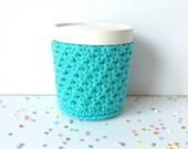 Ice Cream Cozy Pint Cover Sleeve Crochet Knit Cotton / Friend Neighbor Family Teacher Gift Stocking Stuffer / Colorway Robin's Egg Blue