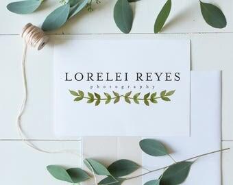 Premade Logo Design | Watercolor Laurel Logo | Floral Leaf Logo | Photography Logo | Small Business Logo | Boutique Logo | PL-030