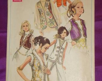 1960s 60s Vintage BoHo Hippie Vest Wardrobe 6 Vws Bolero to Hip Length Trim Options COMPLETE Simplicity Pattern 8143 Bust 32.5 US 83 Metric