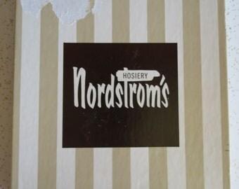 Nordstrom's Hosiery Vintage Brown Stockings Original Striped Box & Packaging 9.5