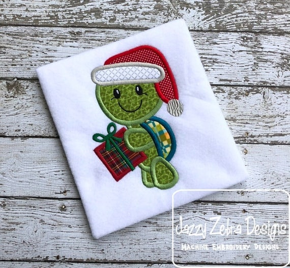Christmas turtle boy with gift appliqué embroidery design - turtle appliqué design - Christmas appliqué design - gift appliqué design