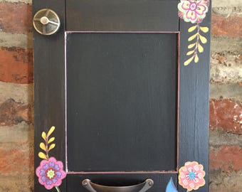 Hand Made Painted/Decoupaged Black Floral Chalkboard