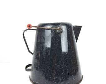 Vintage Black Granite Ware Jug Vintage Speckled Black Granite Jug Old Granite Ware Jug