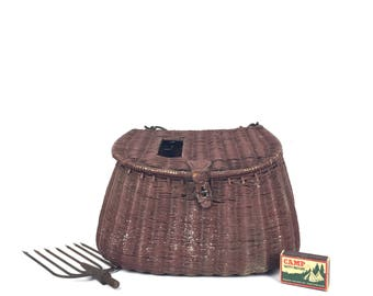 Antique Fishing Creel Leather Fishing Creel Wicker Fishing Creel Antique Fishing Creel Old Wicker Creel 1930s Wicker Fishing Creel