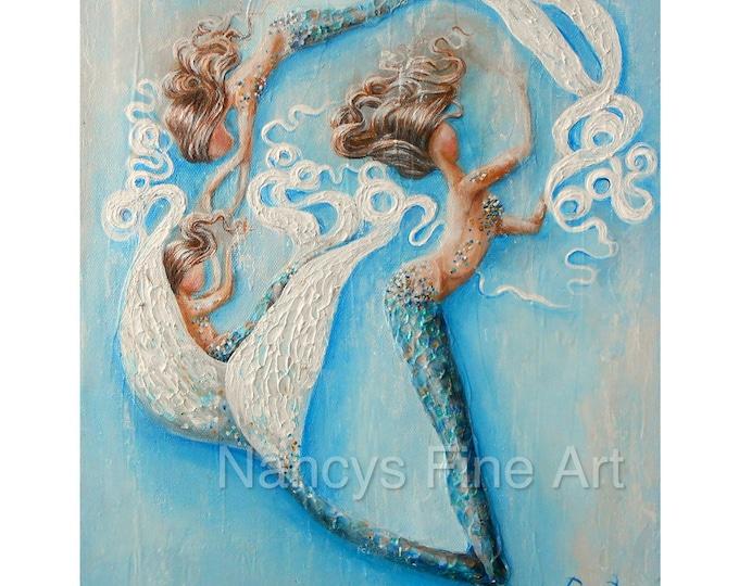 family mermaid art, mother and daughter mermaids, sister mermaid painting, Original artwork by Nancy Quiaoit