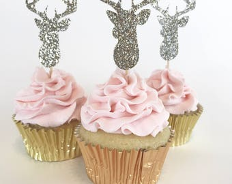 Deer Cupcake Topper, Christmas Cupcake Topper, Wedding Cupcake Topper, Buck and Doe, Holiday Party Cupcake Topper, Reindeer Cupcake Topper