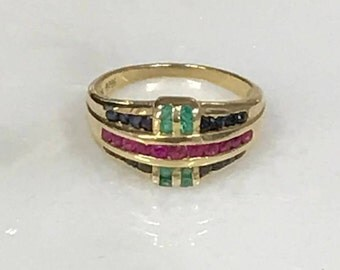 14k Yellow Gold Ring with Rows of Multi-Colored Stones