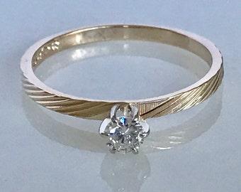 Lovely 14k Yellow Gold Diamond Engagement Ring