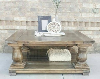Square Balustrade Coffee Table - Square Coffee Table