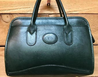 Vintage Michael Green Satchel Handbag Vtg Forest Green Leather Designer Purse Made in USA