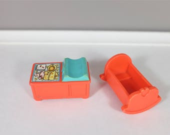 1972 Vintage Fisher Price - Fisher Price retro Little People baby changing table and crib - Fisher Price nursery - Little People baby set