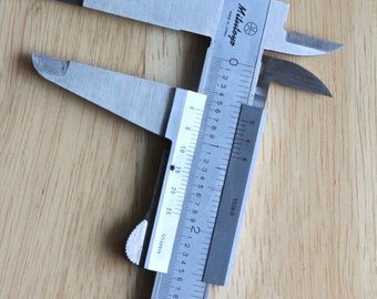 "Vintage 9"" Mitutoyo Calipers, Japan, Hardened Stainless- 1/128 in. 1/1000 in, Vernier Calipers w/ Case, for Inside, Outside Measurement"