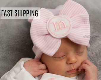 Newborn baby girls personalized custom initial large bow monogram hospital hat pink stripe shower gift
