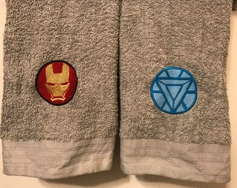 Iron Man/Arc Reactor Hand Towels - Embroidered Comic Book Geeky Bathroom or Kitchen Decor