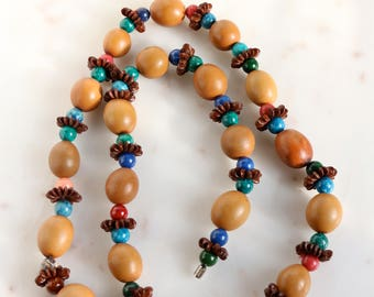 Vintage Wood Bead Necklace - Beaded Necklace