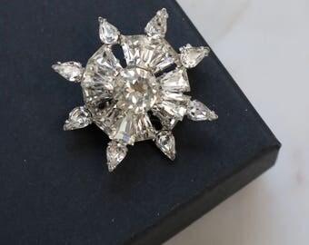 Crystal Snowflake Brooch - Sparkly Crystal Rhinestone Brooch