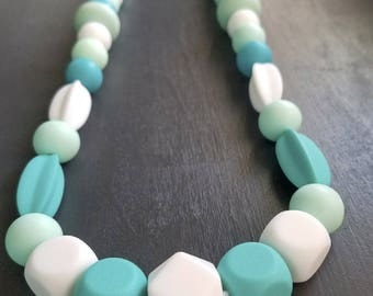 Teething Jewelry Necklace - Blue - White