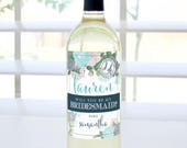 Will You Be My Bridesmaid? Custom Wine Label - Blue Floral
