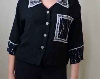 Black, collared button up, art deco pocket print oversized blouse- S/M