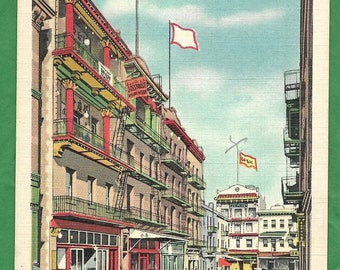 Vintage Linen Postcard - Joss House , Tong Buildings, Waverly Place in Chinatown, San Francisco , California  (3029)