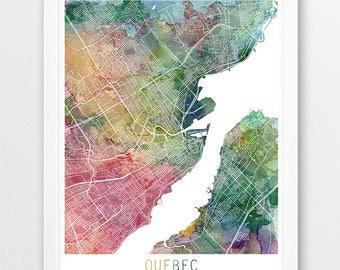 Quebec printable map etsy quebec city urban map poster quebec street print watercolor map quebec canada travel sciox Gallery