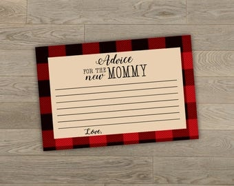 Baby Shower Advice Cards, Buffalo Plaid, 4x6, Digital Download
