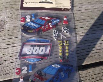 NASCAR STICKERS,Recollections Brand Sticker Set,RACECAR Stickers,Scrapbook Stickers,Craft Supply,Scrapbook Supply,Checkered Flag,Sports Car